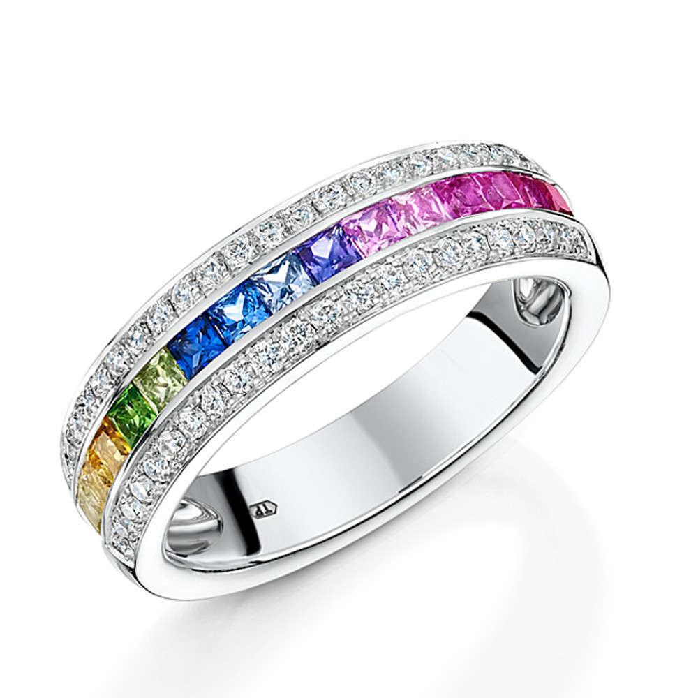 channel colourded with set rainbow product ring pave brilliant and in rings jewellers sapphires why multi cut diamonds diamond gold sapphire white